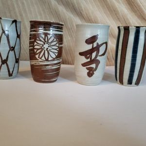 Accents - Lot of 4 Ceramic Art Pottery Glasses/Vases